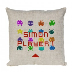 Personalised Gamer's cushion, Retro Player 1 Linen cushion
