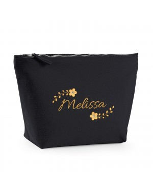 85c9cd4ee136 Embroidered Large Make-Up Bag Floral Design Personalised With Any Name.