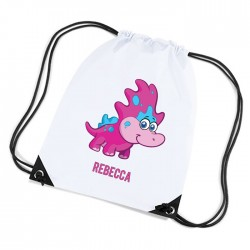Cute Funny Pink Dinosaur Personalised Sports Nylon Draw String Gym Sack Pack & Rope Bag.