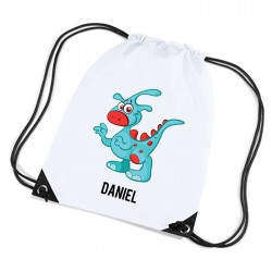 Cute Funny Blue Dinosaur Personalised Sports Nylon Draw String Gym Sack Pack & Rope Bag.