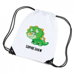 Triceratops Green Dinosaur Personalised Sports Nylon Draw String Gym Sack Pack & Rope Bag.