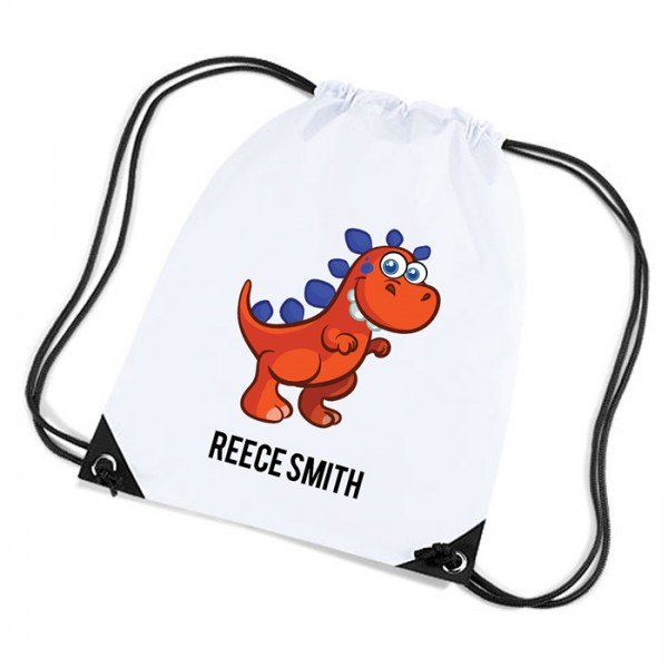Cute Funny Red Dinosaur Personalised Sports Nylon Draw String Gym Sack Pack & Rope Bag.