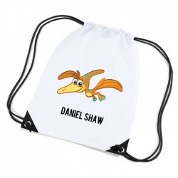 Cute Green Pteranodon Dinosaur Personalised Sports Nylon Draw String Gym Sack Pack & Rope Bag.