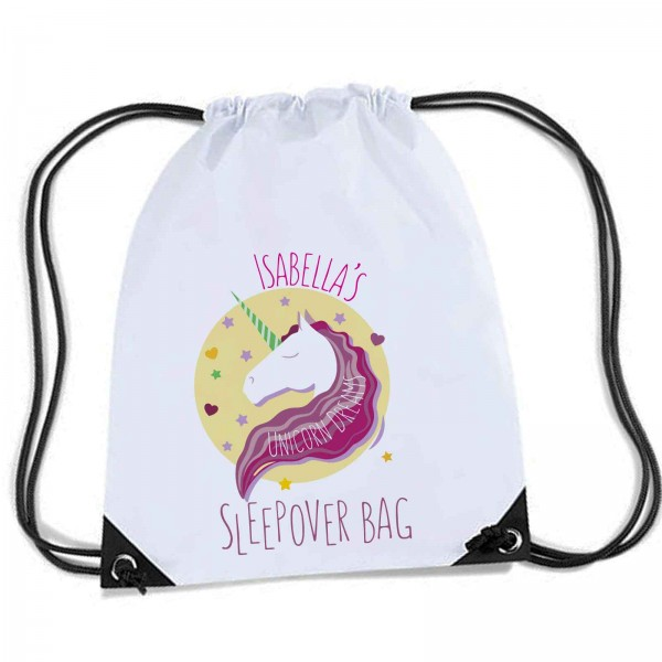 Lovely colourful Unicorn Sleep over / Gym bag, Personalised Sports Nylon Draw String Gym Sack Pack & Rope Bag.
