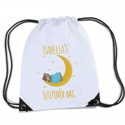 Teddy & Moon Sleep over / Gym bag, Personalised Sports Nylon Draw String Gym Sack Pack & Rope Bag.