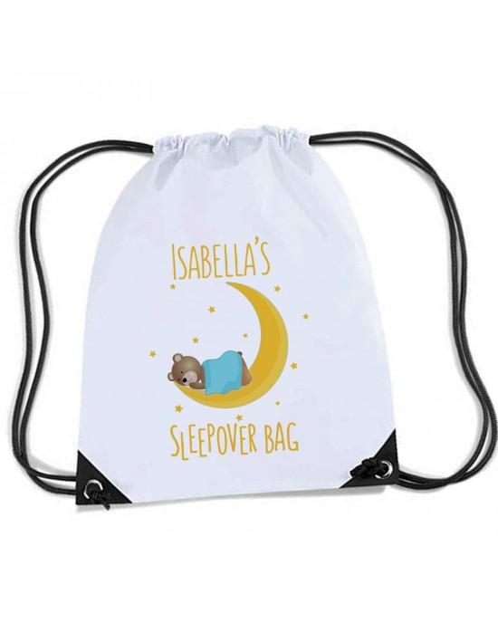 Teddy & Moon Sleep over / Gym bag, Personalised Sports Nylon Draw String Gym Sack Pack & Rope Bag.