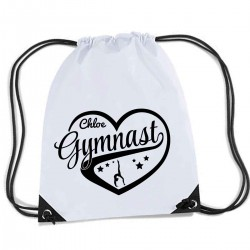 Personalised Love Heart Gymnastics Gym kit bag.