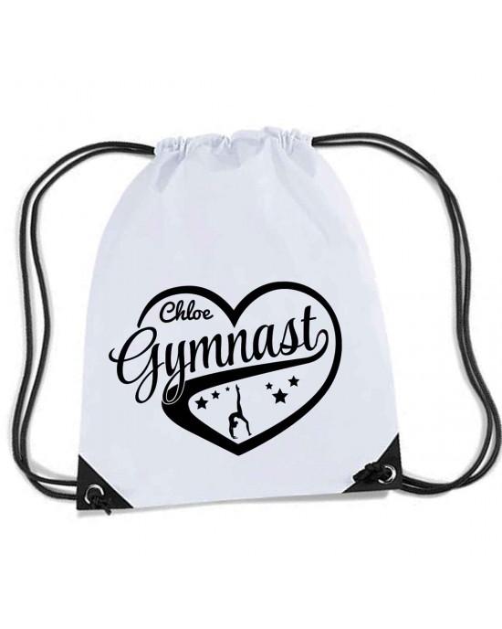 Personalised Love Heart Gymnastics Gym kit bag.