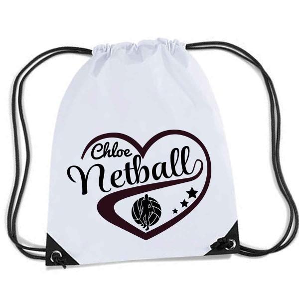 Personalised Love Heart Net Ball Gym kit bag.