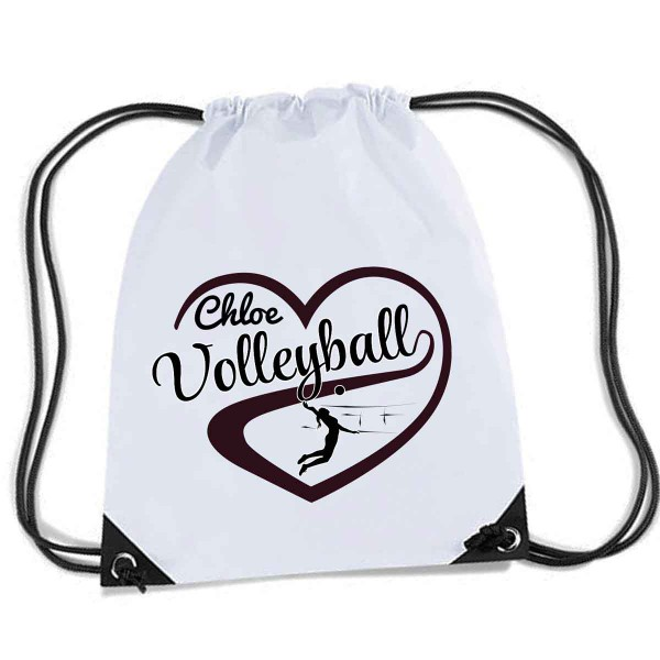 Personalised Love Heart Volleyball Gym kit bag.