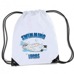 Personalised white sports nylon drawstring gym bag, sack pack, rope bag. Polar Bear Swimming cartoon design.