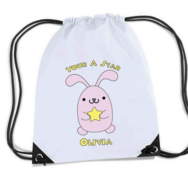 Very Cute Bunny Personalised Sports Nylon Draw String Gym Sack Pack & Rope Bag.