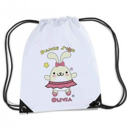 Cute Dancing Star Bunny Rabbit. Personalised Sports Nylon Draw String Gym Sack Pack & Rope Bag.