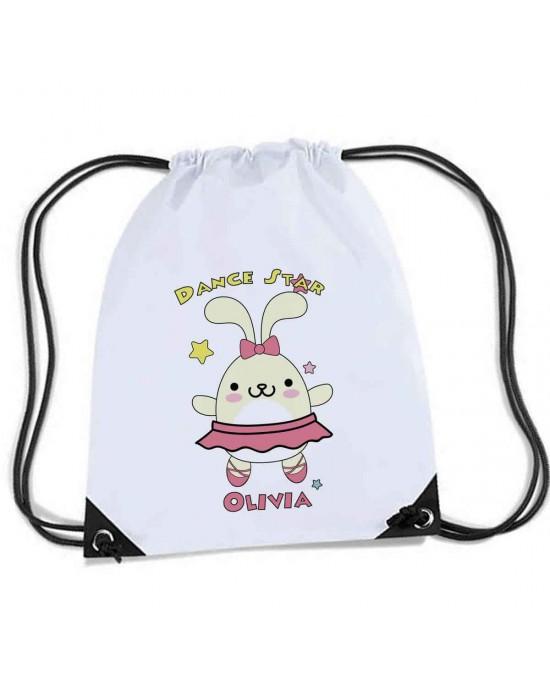 Cute Dancing Star Bunny Rabbit. Personalised Sports Nylon Draw String Gym Sack Pack & Rope Bag.