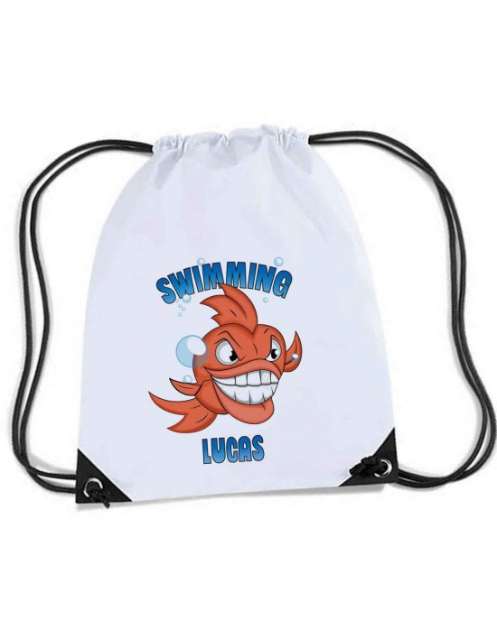 Personalised Sports Nylon Draw String Gym Sack Pack & Rope Bag. Perfect for school with a very angry fish on the front...