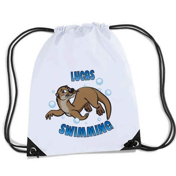 Otter Swim Bag, With a cute cartoon otter design.  Personalised Sports Nylon Draw String Gym Sack Pack & Rope Bag.