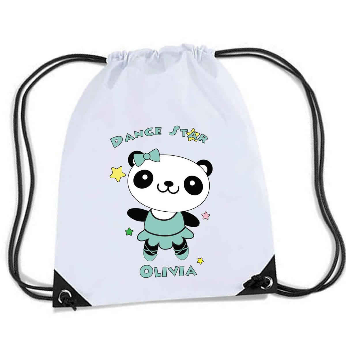 Cute Little Dancing Star Panda Design Personalised Sports Nylon Draw String Gym Sack Pack Rope Bag