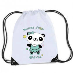Cute Little Dancing Star Panda Design, Personalised Sports Nylon Draw String Gym Sack Pack & Rope Bag.