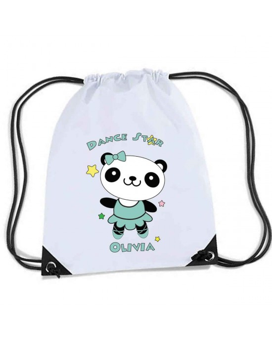Cute Little Dancing Star Panda Design, Personalised Sports Nylon Draw String Gym Sack Pack & Rope Bag.
