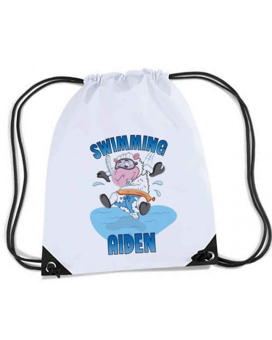 Fun Cartoon sheep swimming / diving Design on the bag, Personalised Sports Nylon Draw String Gym Sack Pack & Rope Bag.