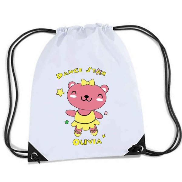 Cute Little Pink Dancing Star Teddy Design , Personalised Sports Nylon Draw String Gym Sack Pack & Rope Bag.