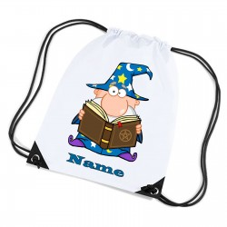 Wizard Cartoon Personalised Sports Nylon Draw String Gym Sack Pack & Rope Bag.
