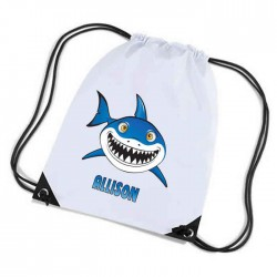 Cartoon Shark, Personalised Sports Nylon Draw String Gym Sack Pack & Rope Bag.