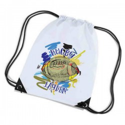 Rugby Personalised Sports Nylon Draw String Gym Sack Pack & Rope Bag. Colourful Grunge Style