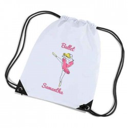 Rabbit Design white sports nylon drawstring gym sack pack and rope bag. Nice Stocking Filler