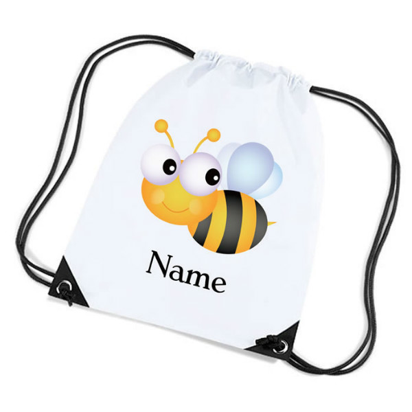 Cute Bumble Bee Personalised Sports Nylon Draw String Gym Sack Pack & Rope Bag.