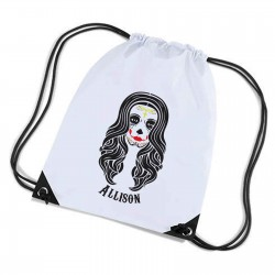 Candy Skull, Sugar Skull  Personalised Sports Nylon Draw String Gym Sack Pack & Rope Bag.