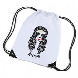Candy Skull, Sugar Skull  Personalised Sports Nylon Draw String Gym Sack Pack & Rope Bag.
