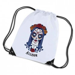 Sugar Skull, Candy Skull  Personalised Sports Nylon Draw String Gym Sack Pack & Rope Bag.