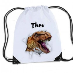 Dinosaur T Rex Ripping Through the bag, Personalised Sports Nylon Draw String Gym Sack Pack & Rope Bag.