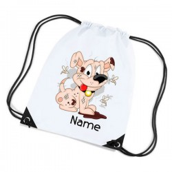 Scruffy Dog Personalised Sports Nylon Draw String Gym Sack Pack & Rope Bag.