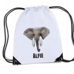 Elephant White Personalised bag, School Sports Nylon Draw String Gym Sack Pack & Rope Bag.