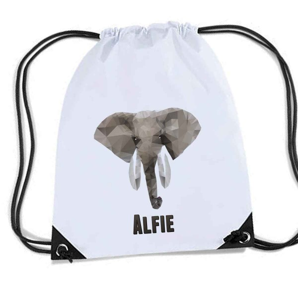 Elephant White Personalised bag, School Sports Nylon Draw String Gym Sack Pack & Rope Bag.