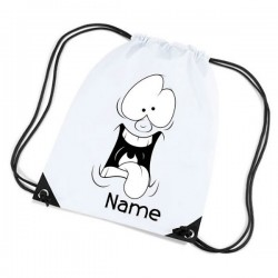 Funny Face Personalised Sports Nylon Draw String Gym Sack Pack & Rope Bag.