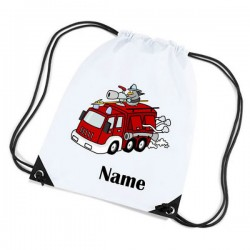 Fire Engine Personalised Sports Nylon Draw String Gym Sack Pack & Rope Bag.
