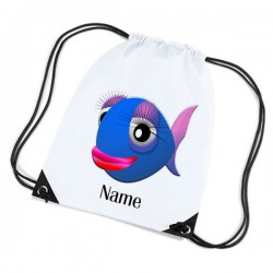 Girl Fish Personalised Sports Nylon Draw String Gym Sack Pack & Rope Bag.