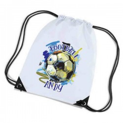 Football Personalised Sports Nylon Draw String Gym Sack Pack & Rope Bag. Colourful Grunge Style