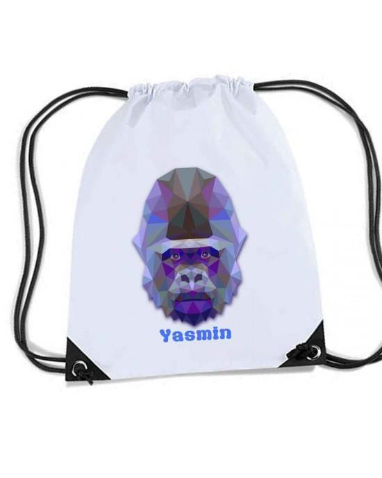 Gorilla Personalised Sports Nylon Draw String Gym Sack Pack & Rope Bag. Great School Swim Bag.