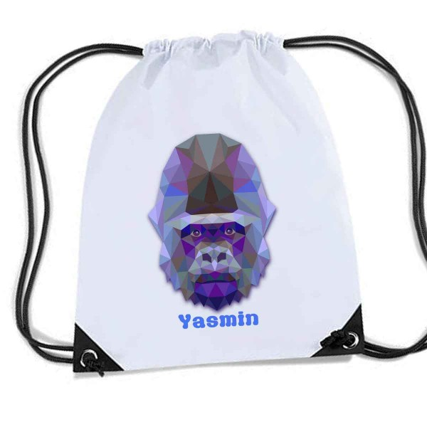 Gorilla Personalised Sports Nylon Draw String Gym Sack Pack & Rope Bag. Great School Swim Bag.