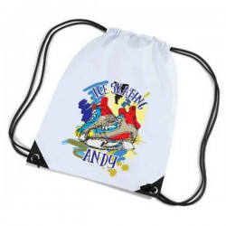 Ice Skating Personalised Sports Nylon Draw String Gym Sack Pack & Rope Bag. Colourful Grunge Style