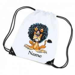 Lion Cartoon Personalised Sports Nylon Draw String Gym Sack Pack & Rope Bag.