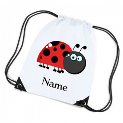 Cartoon Ladybird, Personalised Sports Nylon Draw String Gym Sack Pack & Rope Bag.
