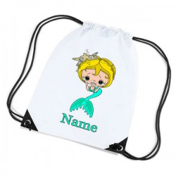 Mermaid Personalised Sports Nylon Draw String Gym Sack Pack & Rope Bag.