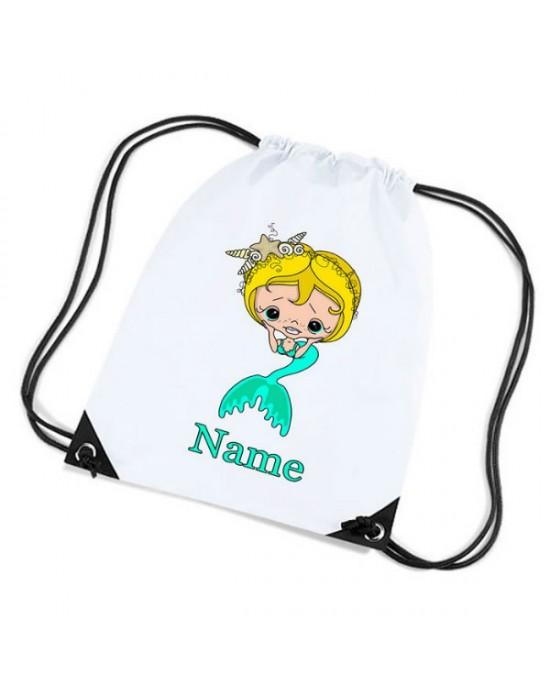 Mermaid Personalised Sports Nylon Draw String Gym Sack Pack & Rope Bag.