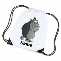 Gorilla Cartoon Personalised Sports Nylon Draw String Gym Sack Pack & Rope Bag.