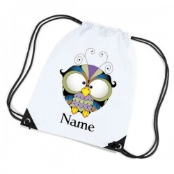 Wise Old Owl Personalised Sports Nylon Draw String Gym Sack Pack & Rope Bag.